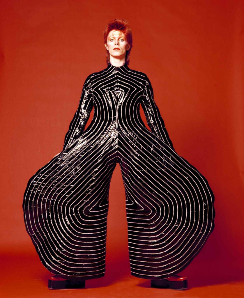 Striped bodysuit for Aladdin Sane tour, 1973 Design by Kansai Yamamoto Photograph by Masayoshi Sukita -® Sukita The David Bo