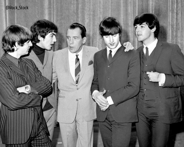UNITED STATES - FEBRUARY 08: After being silenced by a sore throat, George Harrison (second left) and the Beatles chat with Ed Sullivan. (Photo by Fred Morgan/NY Daily News Archive via Getty Images)