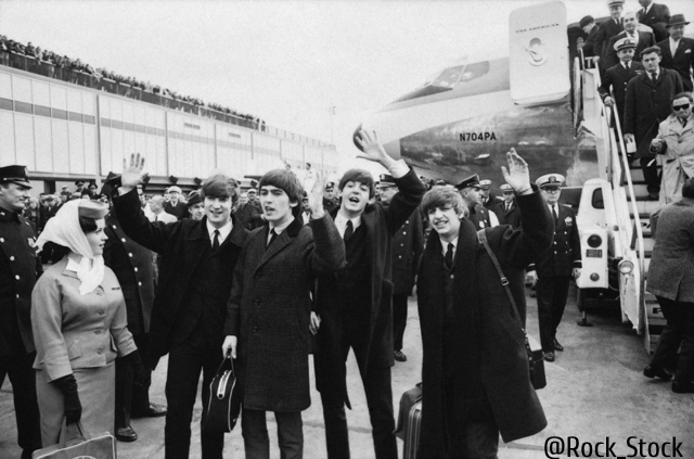 NEW YORK - FEBRUARY 7: The Beatles arrive at John F. Kennedy International Airport, February 7, 1964. From left: John Lennon, George Harrison, Paul McCartney and Ringo Starr. (Photo by CBS via Getty Images)